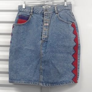 VINTAGE high waisted button fly jean skirt